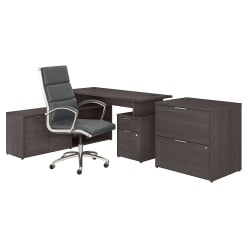 "Bush Business Furniture Jamestown 60""W L-Shaped Desk With Lateral File Cabinet And High-Back Office Chair, Storm Gray, Standard Delivery"