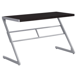 Monarch Specialties Computer Desk With Z-Shaped Metal Base, Cappuccino/Silver