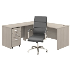 "Bush Business Furniture Studio C 71""W L-Shaped Desk With Mobile File Cabinet and High-Back Office Chair, Sand Oak, Premium Installation"