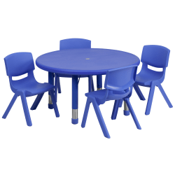 """Flash Furniture Round Plastic Height-Adjustable Activity Table Set With 4 Chairs, 23-3/4"""" x 33"""", Blue"""