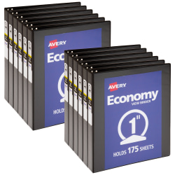 """Avery® Economy View 3-Ring Binder, 1"""" Round Rings, Black, Pack Of 12"""