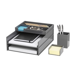 Realspace™ 5-Piece Desk Organizer Set With Antimicrobial Treatment, Gray
