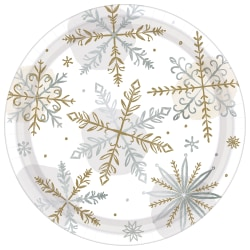 "Amscan Christmas Shining Snow Round Paper Plates, 7"", 8 Plates Per Pack, Set Of 5 Packs"