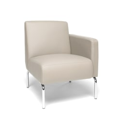 OFM Triumph Series Left Arm Modular Lounge Chair, Cream/Chrome