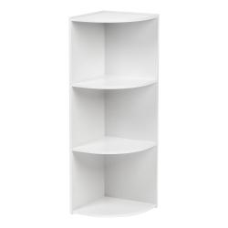 "IRIS 35""H 3-Tier Corner Curved Shelf, White"