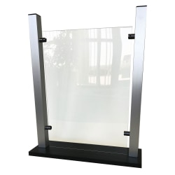 "Waddell Counter-Top Protective Plastic Shield With Aluminum Frame And Flat Base, 24""H x 19""W x 6""D, Clear"
