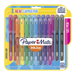 Paper Mate® Inkjoy Gel 600ST Stick Pens, Medium Point, 0.7 mm, Assorted Ink Colors, Pack Of 20