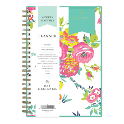 "Blue Sky™ Day Designer Weekly/Monthly CYO Planner, 5"" x 8"", Peyton White, January To December 2021, 103619-21"