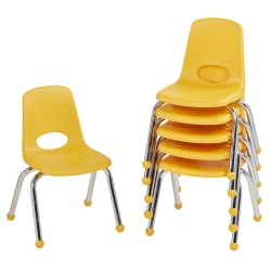 """Factory Direct Partners 12"""" Stacking Chairs With Ball Glides, Yellow, Pack Of 6 Chairs"""