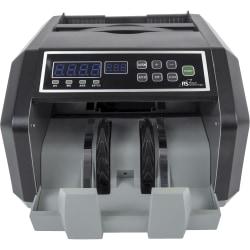 "Royal Sovereign High-Speed Currency Counter With Counterfeit Detection, 200 Bill Capacity, 7-15/16""H x 12-7/16""W x 10-3/16""D, Black/Silver"