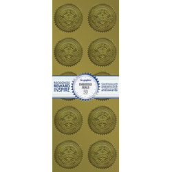 "Geographics Embossed Seals, 2"", Gold Excellence, Pack Of 50"