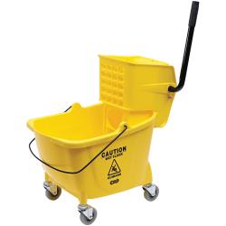 "Genuine Joe Sidepress Bucket/Wringer Combo, 21""H x 16""W x 14""D, Yellow"