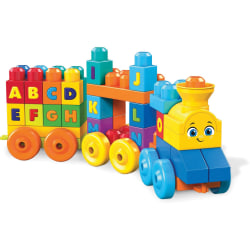 Mega Bloks ABC Musical Train - Skill Learning: Word, Listening, Alphabet, Word Building - 1-5 Year - 50 Pieces