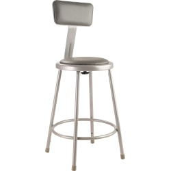 National Public Seating Vinyl-Padded Task Stool, Gray Seat/Gray Frame, Quantity: 1