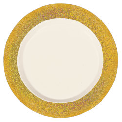 "Amscan Premium Plastic Plates With Prismatic Borders, 10-1/4"", Cream/Gold, Pack Of 10 Plates"