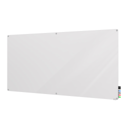 """Ghent Harmony Magnetic Glass Board with Radius Corners, 48"""" x 60"""", White"""