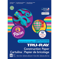 "Tru-Ray® Construction Paper, 50% Recycled, 9"" x 12"", Assorted Brights, Pack Of 50"