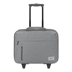 "Solo Bags Underseat Rolling Case With 15.6"" Laptop Pocket, 51% Recycled, Gray"