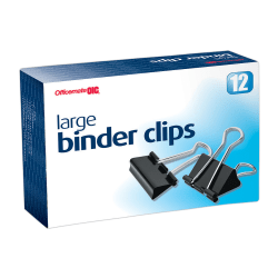 "OIC® Binder Clips, Large, 2"", Black, Box Of 12"