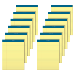 """TOPS™ Docket™ Writing Pads, 8 1/2"""" x 11 3/4"""", Legal Ruled, 50 Sheets, Canary, Pack Of 12 Pads"""