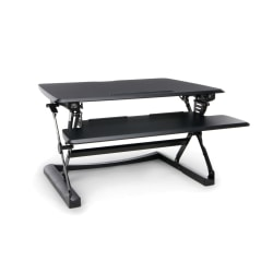 OFM Height-Adjustable Sit-To-Stand Desktop Riser With Keyboard Tray, Black