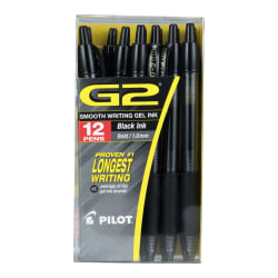 Pilot® G2 Premium Gel Roller Pen, Bold Point, 1.0 mm, Black Barrel, Black Ink, Pack Of 12
