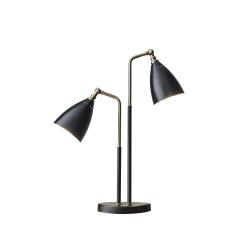 "Adesso® Chelsea 2-Light Table Lamp, 32 1/2""H, Black Shade/Black Base"