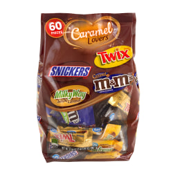 Mars Caramel Lovers Miniature Chocolates, 37.70 Oz, 60 Bars Per Bag, Pack Of 2 Bags
