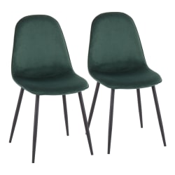LumiSource Pebble Velvet Chairs, Green/Black, Set Of 2 Chairs