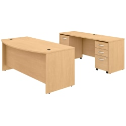 """Bush Business Furniture Studio C Bow Front Desk And Credenza With Mobile File Cabinets, 72""""W x 36""""D, Natural Maple, Standard Delivery"""