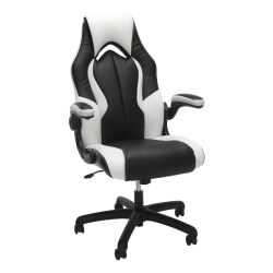 OFM Essentials 3086 Racing-Style Bonded Leather High-Back Gaming Chair, Black/White