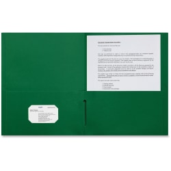 "Sparco Leatherette Portfolio, 8-1/2"" x 11"", 2 Pocket, Green, Box of 25"