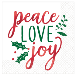 """Amscan Christmas Peace Love Joy 2-Ply Lunch Napkins, 6-1/2"""" x 6-1/2"""", 16 Napkins Per Pack, Set Of 3 Packs"""