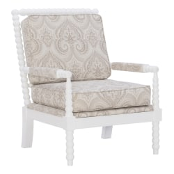Linon Gardner Spindle Chair, Beige Paisley/Cream
