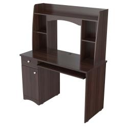 Inval Jansse Computer Desk/Workcenter With Hutch, Espresso-Wengue