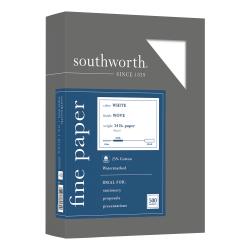 "Southworth® 25% Cotton Business Paper, 8 1/2"" x 11"", 24 Lb, White, Box Of 500"