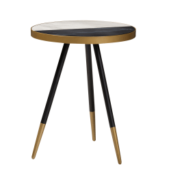 "Baxton Studio Modern Accent Table, 21-3/4"" x 17-5/16"" x 17-5/16"", Gold/Marble/Black"