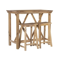 "Linon Tanguay Tavern Table Set, 36-1/4""H x 42""W x 22""D, Rustic"