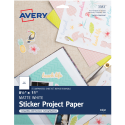 "Avery® Sticker Project Paper, Letter Size (8 1/2"" x 11""), White, Pack Of 15 Sheets"