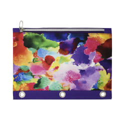 "Office Depot® Brand 3-Ring Fabric Fashion Pencil Pouch, 7-1/2"" x 10-1/8"", Watercolor"
