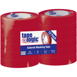 """Tape Logic® Color Masking Tape, 3"""" Core, 1"""" x 180', Red, Case Of 12"""