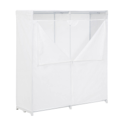 "Honey-Can-Do Cloth Wardrobe, 60 5/8""H x 64 3/16""W x 19 3/4""D, White"