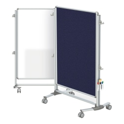 """Ghent Nexus Jr Partition Double-Sided Mobile Magentic Fabric/Dry-Erase/Bulletin Board, 34 1/4"""" x 46 1/4"""", Blue Board/Silver Aluminum Frame"""