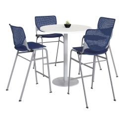 "KFI Studios KOOL Round Pedestal Table With 4 Stacking Chairs, 41""H x 36""D, Designer White/Navy"