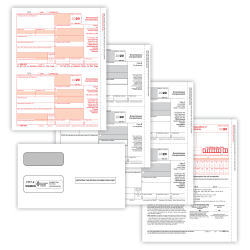 """ComplyRight 1099-NEC Tax Form Set, 3-Part, 2-Up, Copies A/B/C, Laser, 8-1/2"""" x 11"""", Pack Of 50 Forms And Envelopes"""