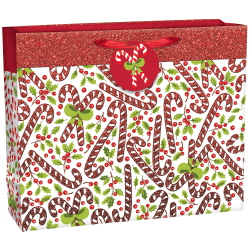 """Amscan Christmas Candy Cane Horizontal Extra-Large Gift Bags With Gift Tags, 13-1/4""""H x 16-1/4""""W x 5""""D, Red/White, Pack Of 20 Gift Bags"""