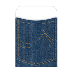 "Barker Creek Peel & Stick Library Pockets, 3 1/2"" x 5 1/8"", Denim, Pack Of 30"