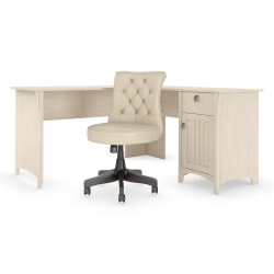 "Bush Furniture Salinas 60""W L-Shaped Desk With Mid-Back Tufted Office Chair, Antique White, Standard Delivery"
