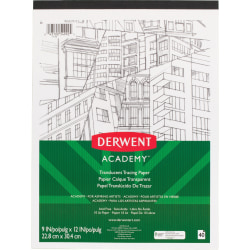 "Derwent Academy Translucent Paper Pad - 40 Sheets - Tape Bound - 10 lb Basis Weight - 9"" x 12"" - White Paper - 1Each"