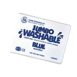 "Center Enterprise Jumbo Washable Unscented Stamp Pads, 6 1/4"" x 4"", Blue, Pack Of 2"